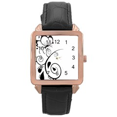 Floral Butterfly Design Rose Gold Leather Watch