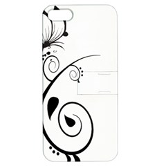 Floral Butterfly Design Apple Iphone 5 Hardshell Case With Stand