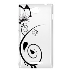 Floral Butterfly Design Sony Xperia C (S39H) Hardshell Case
