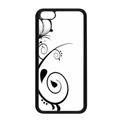 Floral Butterfly Design Apple iPhone 5C Seamless Case (Black)
