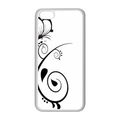 Floral Butterfly Design Apple iPhone 5C Seamless Case (White)