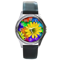 Gerbera Daisies Round Leather Watch (silver Rim)