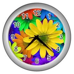 Gerbera Daisies Wall Clock (Silver)