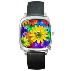 Gerbera Daisies Square Leather Watch