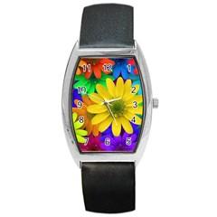 Gerbera Daisies Tonneau Leather Watch