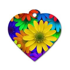 Gerbera Daisies Dog Tag Heart (Two Sided)
