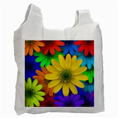 Gerbera Daisies White Reusable Bag (Two Sides)