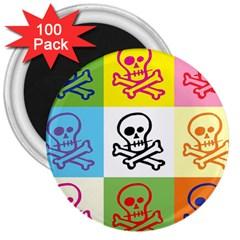 Skull 3  Button Magnet (100 pack)