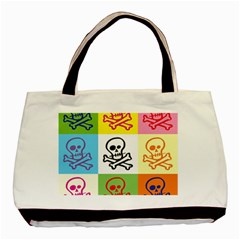 Skull Twin Sided Black Tote Bag