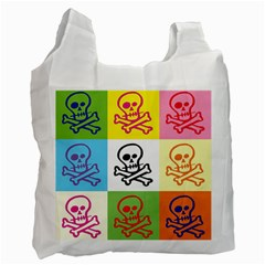 Skull White Reusable Bag (Two Sides)