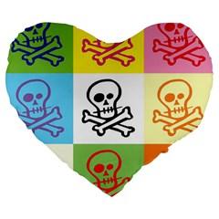 Skull 19  Premium Heart Shape Cushion