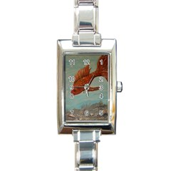 Gold Fish Rectangular Italian Charm Watch