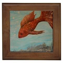 Gold Fish Framed Ceramic Tile