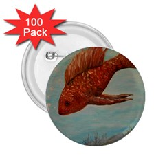 Gold Fish 2 25  Button (100 Pack)