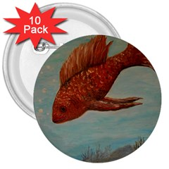 Gold Fish 3  Button (10 pack)