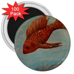Gold Fish 3  Button Magnet (100 pack)