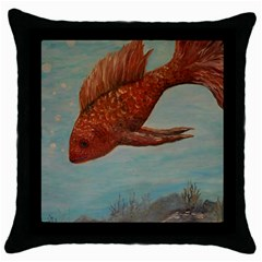 Gold Fish Black Throw Pillow Case