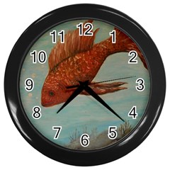 Gold Fish Wall Clock (Black)