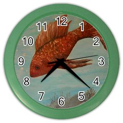 Gold Fish Wall Clock (Color)