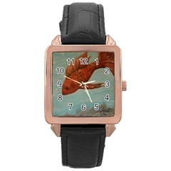Gold Fish Rose Gold Leather Watch