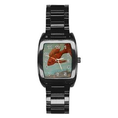 Gold Fish Stainless Steel Barrel Watch