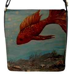 Gold Fish Flap Closure Messenger Bag (small)