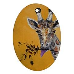 Giraffe Treat Oval Ornament