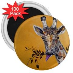 Giraffe Treat 3  Button Magnet (100 pack)
