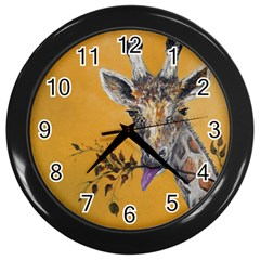 Giraffe Treat Wall Clock (Black)