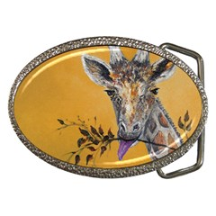 Giraffe Treat Belt Buckle (Oval)