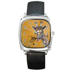 Giraffe Treat Square Leather Watch