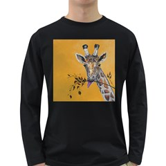 Giraffe Treat Men s Long Sleeve T Shirt (dark Colored)