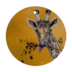 Giraffe Treat Round Ornament (Two Sides)