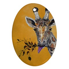 Giraffe Treat Oval Ornament (Two Sides)