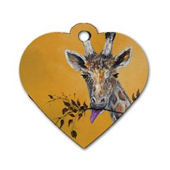 Giraffe Treat Dog Tag Heart (one Sided)