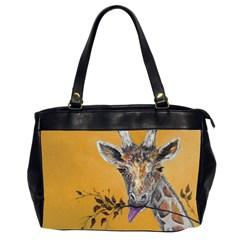 Giraffe Treat Oversize Office Handbag (two Sides)
