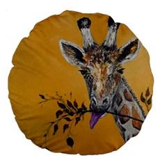 Giraffe Treat 18  Premium Round Cushion