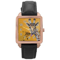 Giraffe Treat Rose Gold Leather Watch