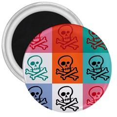 Skull 3  Button Magnet
