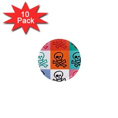 Skull 1  Mini Button Magnet (10 Pack)