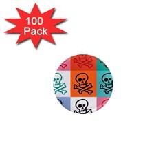 Skull 1  Mini Button Magnet (100 pack)