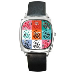 Skull Square Leather Watch