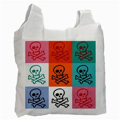 Skull White Reusable Bag (One Side)