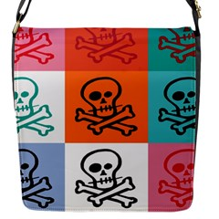 Skull Flap Closure Messenger Bag (Small)