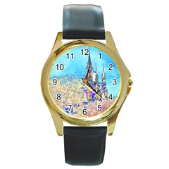 Castle for a Princess Round Leather Watch (Gold Rim)