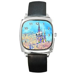Castle for a Princess Square Leather Watch
