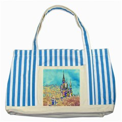 Castle for a Princess Blue Striped Tote Bag