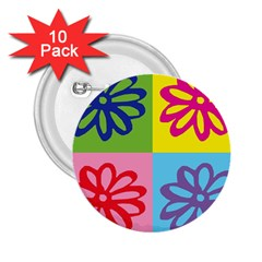 Flower 2 25  Button (10 Pack)