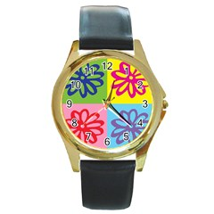 Flower Round Leather Watch (Gold Rim)
