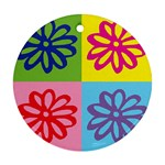 Flower Round Ornament (Two Sides) Front